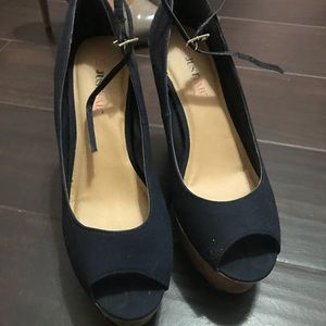 JustFab Shoes - Navy blue wedges